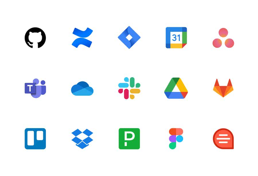 Logos of integrations: Asana, GitHub, Jira, Google Docs, and more.